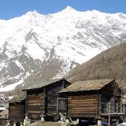 Typical Valasian buildings at the entrance of Saas Fee